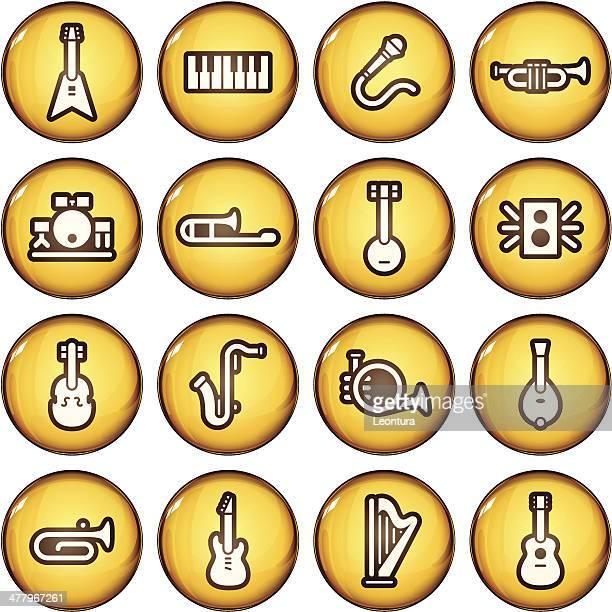 golden instrument icons - bass instrument stock illustrations, clip art, cartoons, & icons