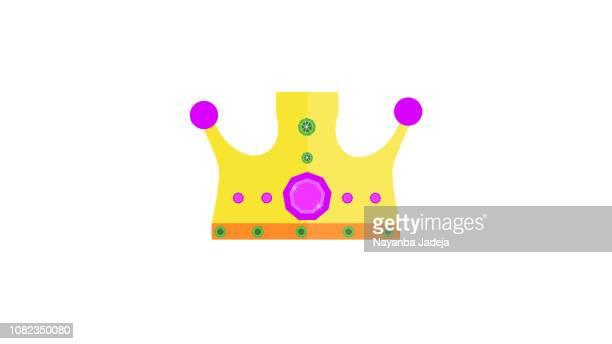 golden isolated crown icon - medieval queen crown stock illustrations