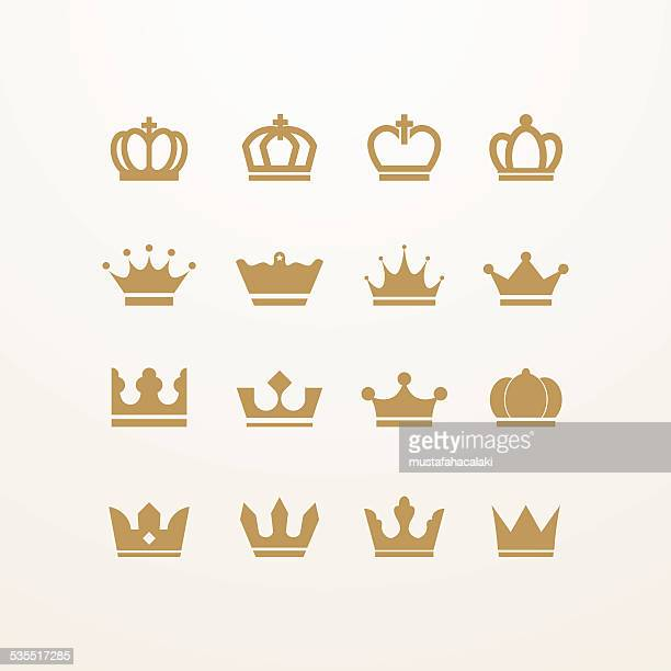 golden isolated crown icons - queen royal person stock illustrations