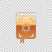 Golden Jewish torah book isolated object on transparent background. The Book of the Pentateuch of Moses. On the cover of the Bible is the image of the Star of David. Flat design. Vector Illustration