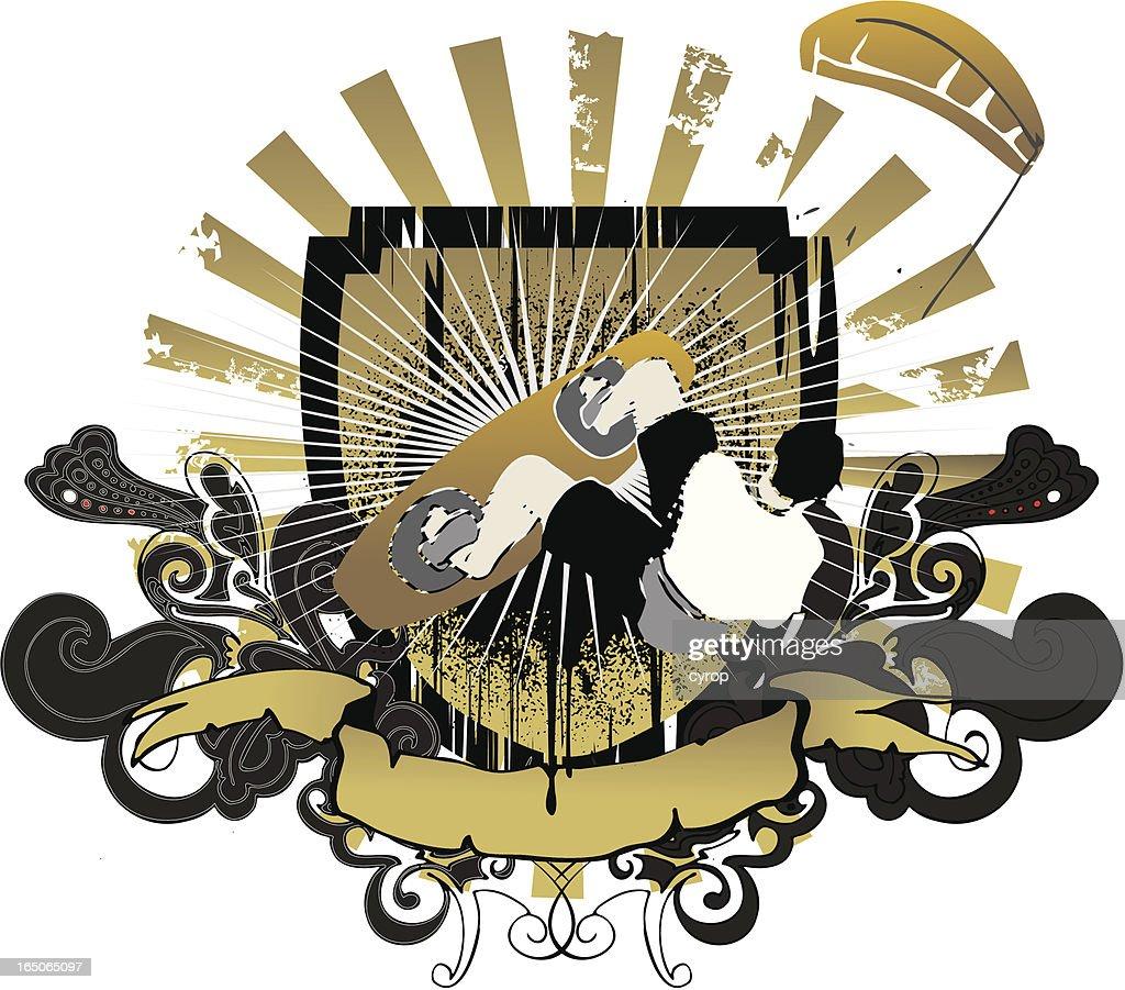 golden kitesurfing  emblem