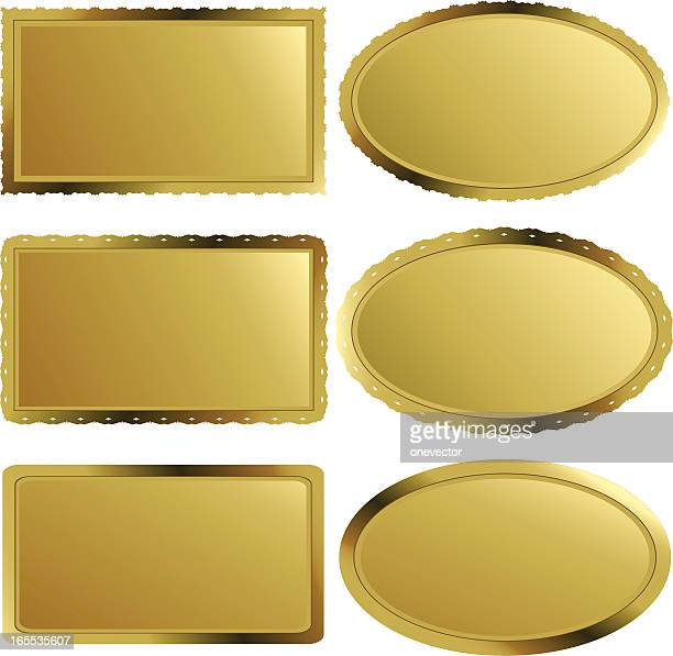 golden labels - nameplates ii - award plaque stock illustrations, clip art, cartoons, & icons
