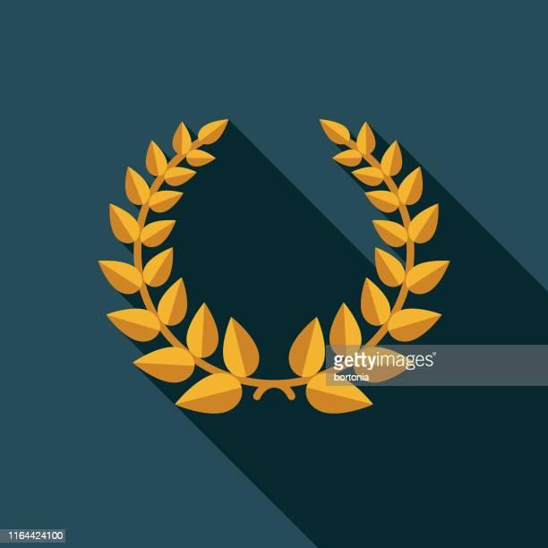 ilustraciones, imágenes clip art, dibujos animados e iconos de stock de icono del premio corona de laurel de oro - rama de olivo