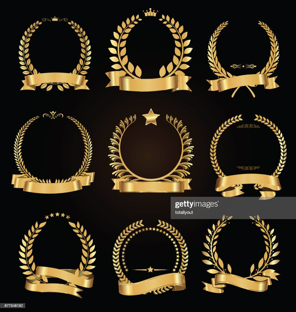 Golden laurel wreath with golden ribbon vector collection