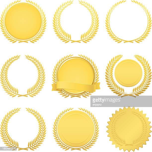 ilustrações, clipart, desenhos animados e ícones de golden laurel wreaths - loureiro