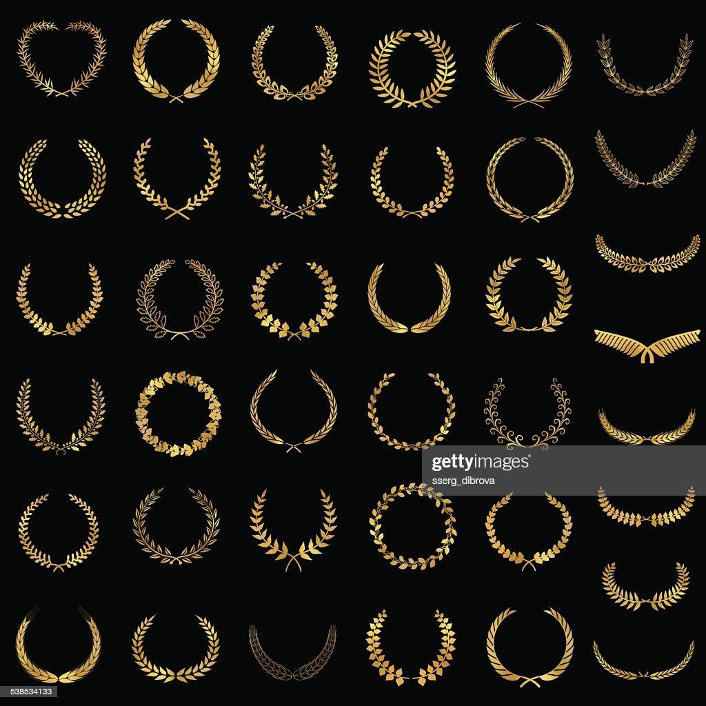 Golden laurel wreaths