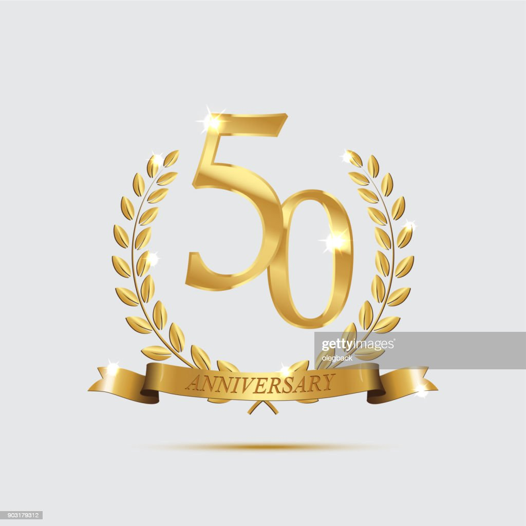 Golden laurel wreaths with ribbons and fifty anniversary year symbol on dark background. 50 anniversary golden symbol. Vector anniversary design element.
