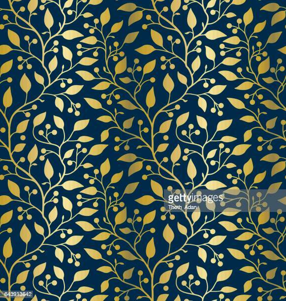 Golden leaves and berries (Seamless pattern)