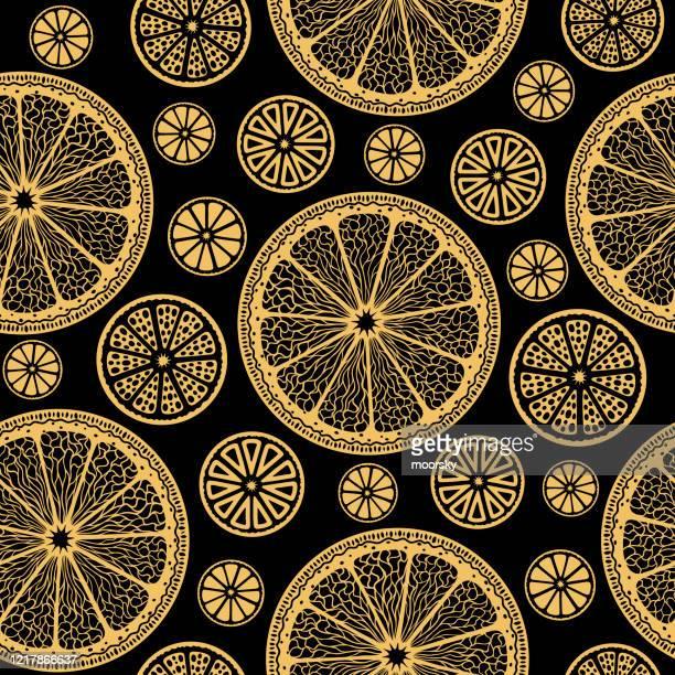 golden lemon slices on black - seamless vector wallpaper - lemonade stock illustrations
