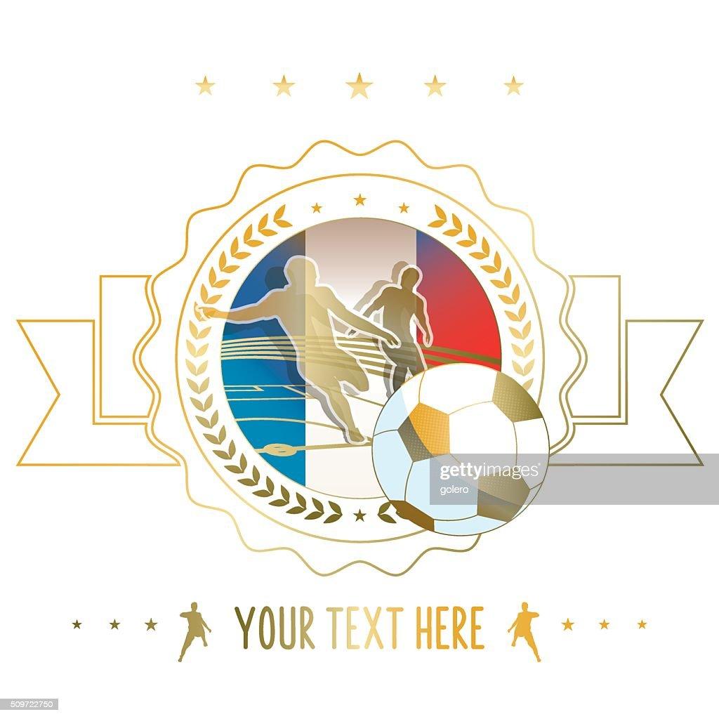 golden line soccer label illustration with france flag : stock illustration