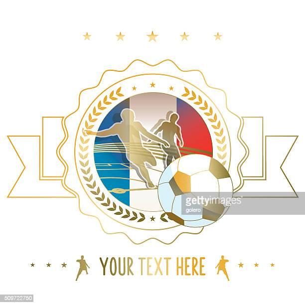 golden line soccer label illustration with france flag