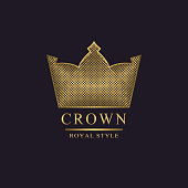 Golden liner monogram. Crown Logotype. Sign of king. Elegant design. Bright volumetric creative emblem for Royalty, business card, company name logo, Hotel, Restaurant. 3d Web icon Vector illustration