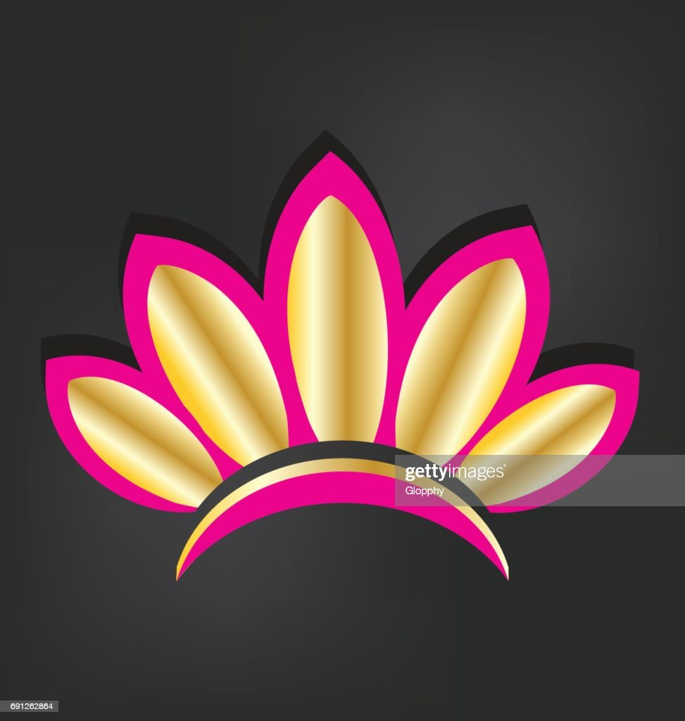 Golden Lotus Flower Icon Vector Vector Art Getty Images