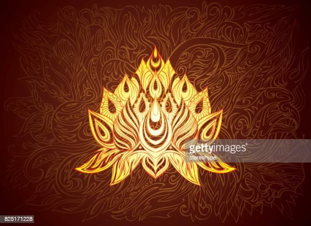 gouden lotus illustratie