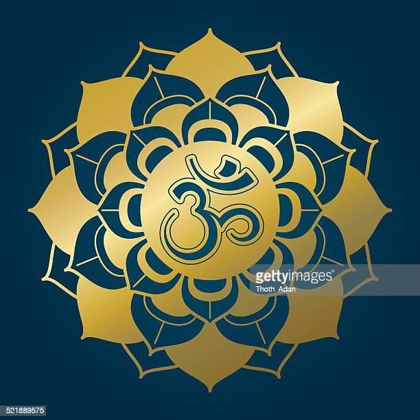 golden lotus mandala with om syllable - om symbol stock illustrations