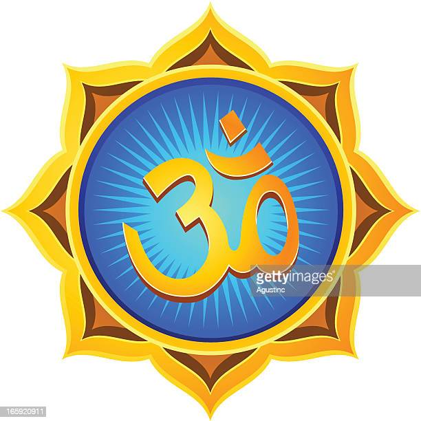 golden lotus om - om symbol stock illustrations