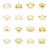 Golden Lotus symbol icons. Vector floral labels for Wellness industry