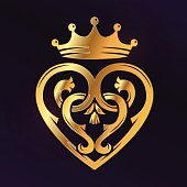 Golden Luckenbooth brooch vector design element. Vintage Scottish heart shape