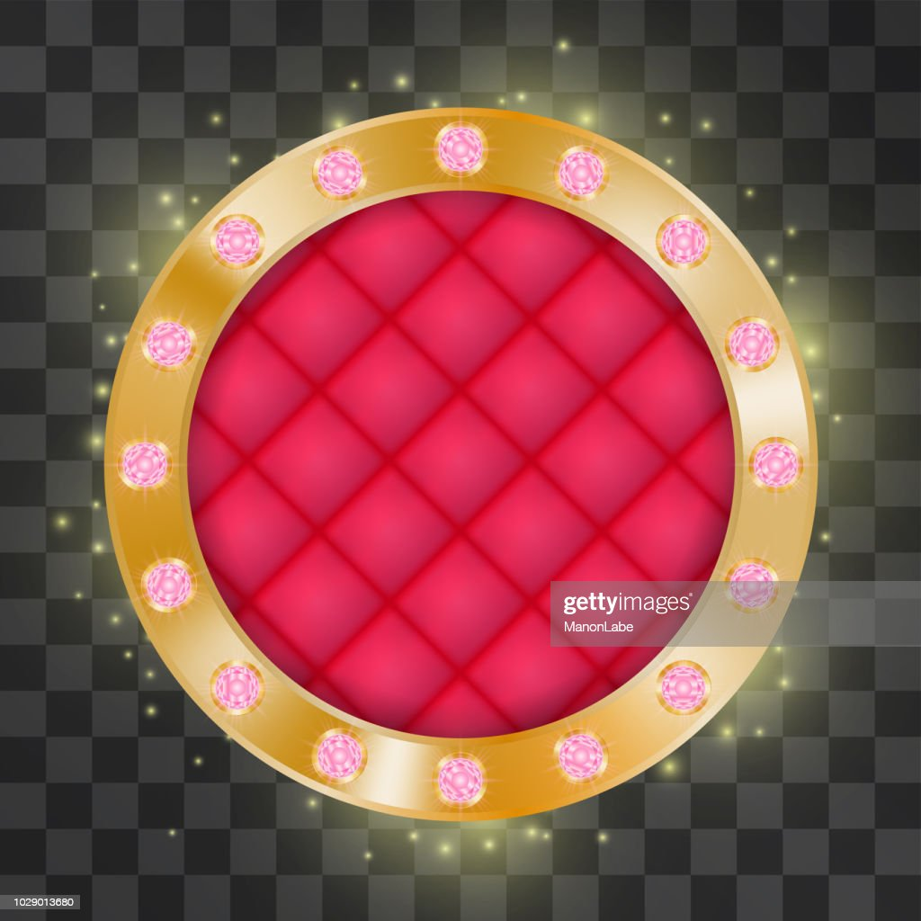 Golden luxurious gems frame with quilted scarlet silk vector jewelry. Circle with princess shape rubies. Shining decorative rubies, symbols of success, wealth. Magical bright red crystals on a ring.