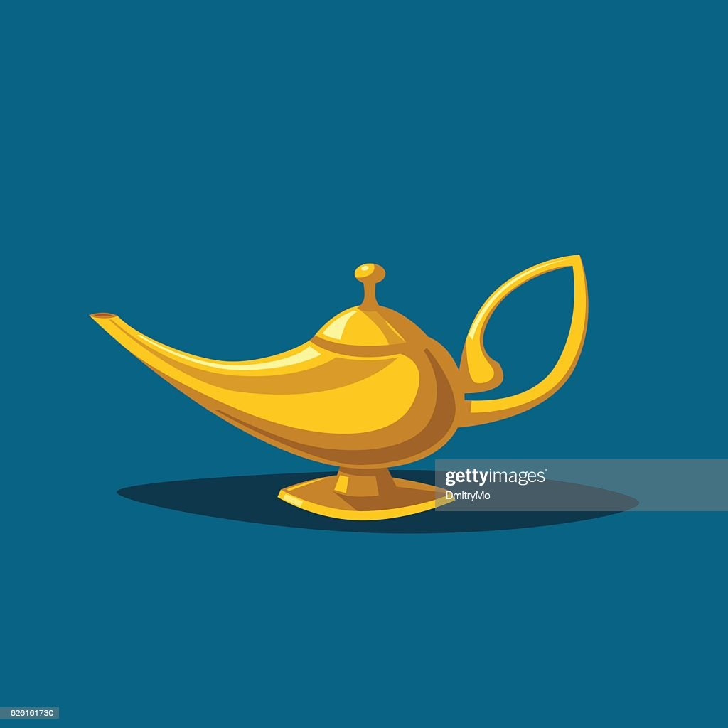 Golden magic lamp. Fable. Cartoon vector illustration