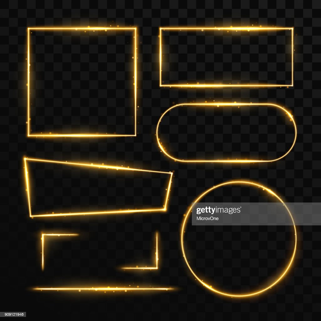 Golden magic light frames and elements isolated on black. Shiny orange borders and nightclub banners vector set