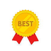 Golden medal with best text vector illustration, flat cartoon design of gold medallion in rosette shape label, award symbol, achievement badge isolated on white clipart