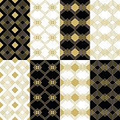 Golden modern art deco square patterns set on black and white backgrounds