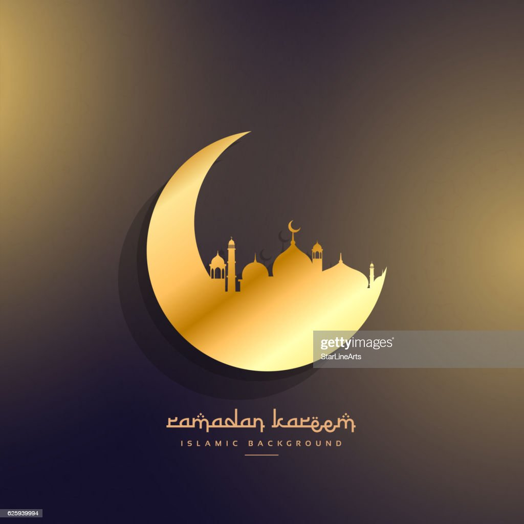 golden moon and mosque design