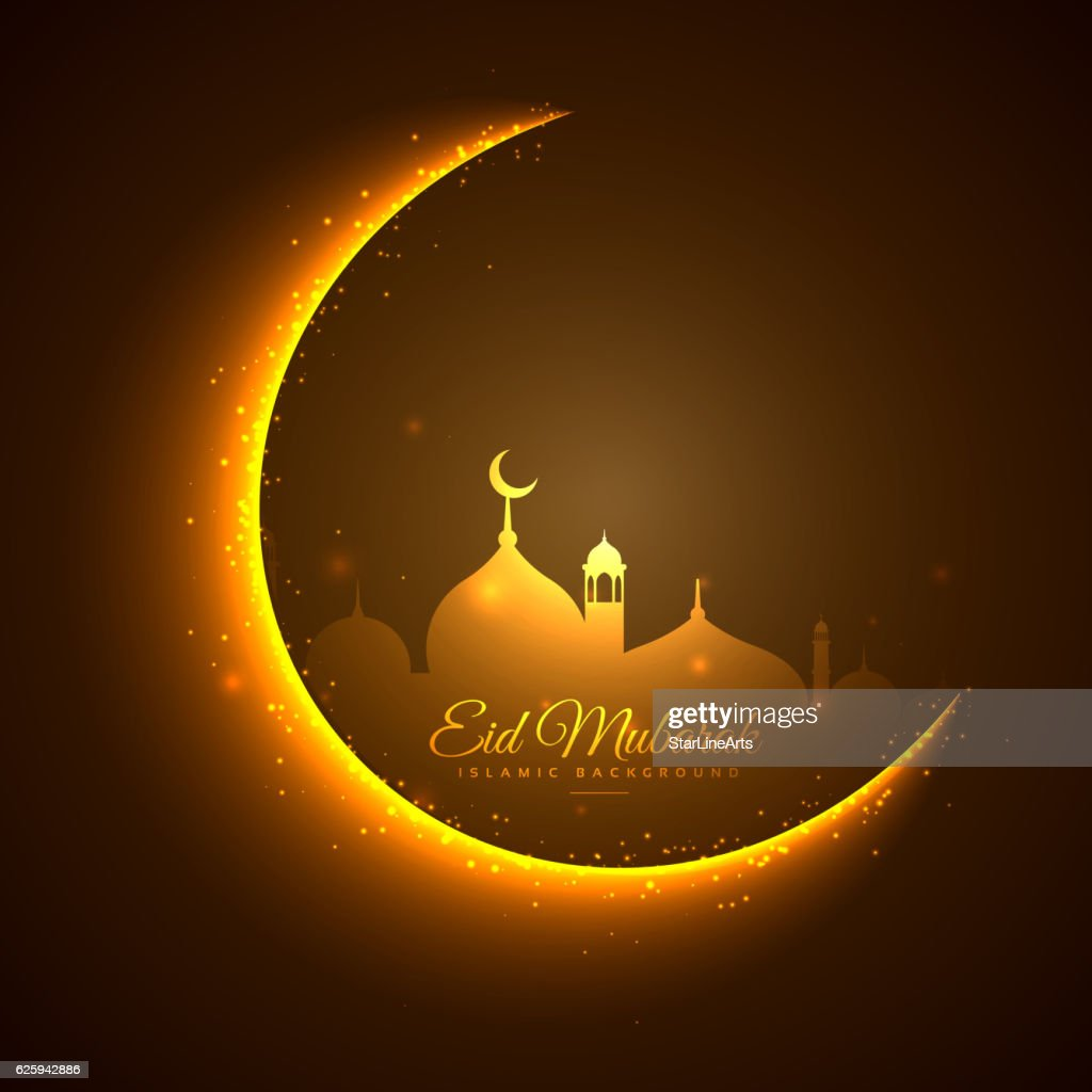 golden moon and mosque eid festival background