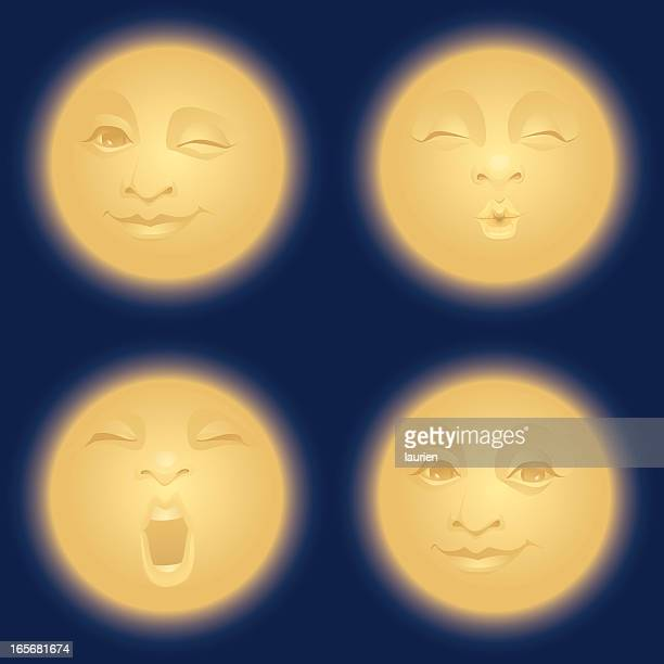Golden moon making faces.