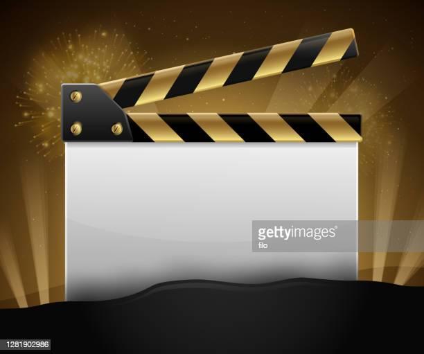 ilustrações de stock, clip art, desenhos animados e ícones de golden movie making film slate - estreia