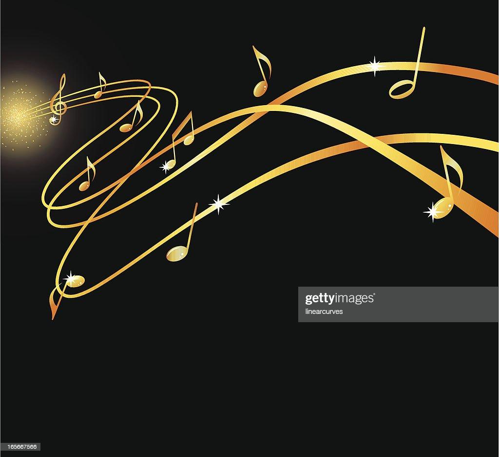 Golden musical flow : stock illustration