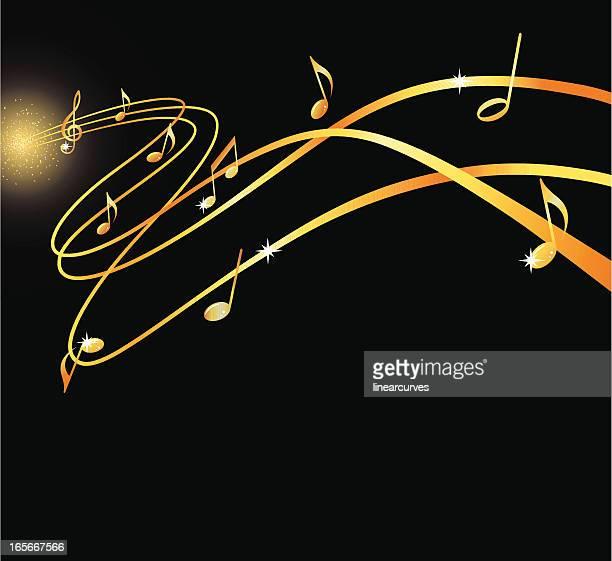 golden musical flow - treble clef stock illustrations, clip art, cartoons, & icons