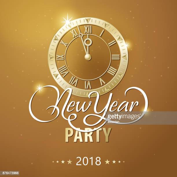 golden new year countdown party - midnight stock illustrations