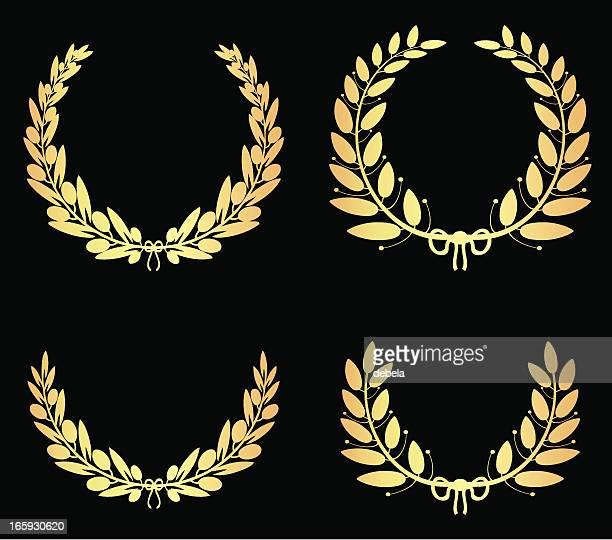 illustrations, cliparts, dessins animés et icônes de olive doré laurel couronnes - couronne de laurier