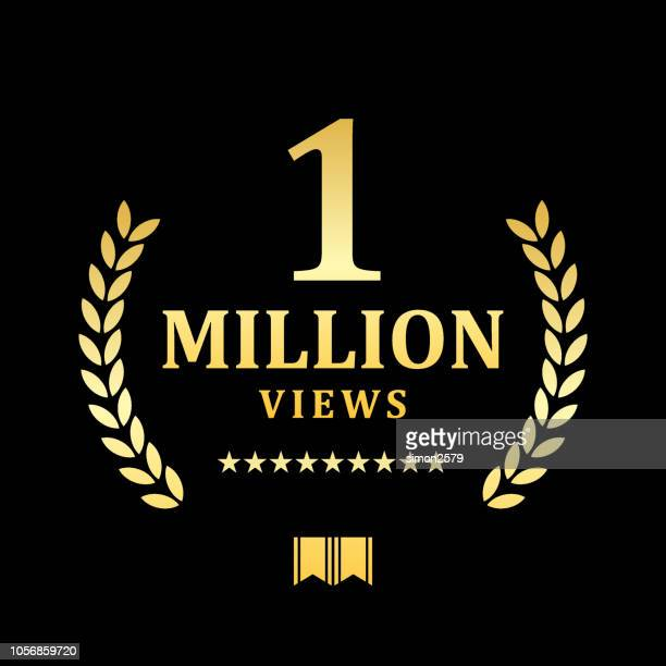 golden one million views emblem - millionnaire stock illustrations, clip art, cartoons, & icons