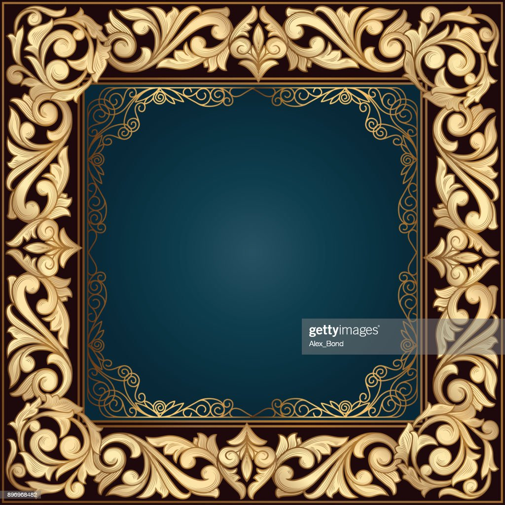Golden ornate decorative vintage frame