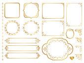 Golden ornate frames and scroll elements.