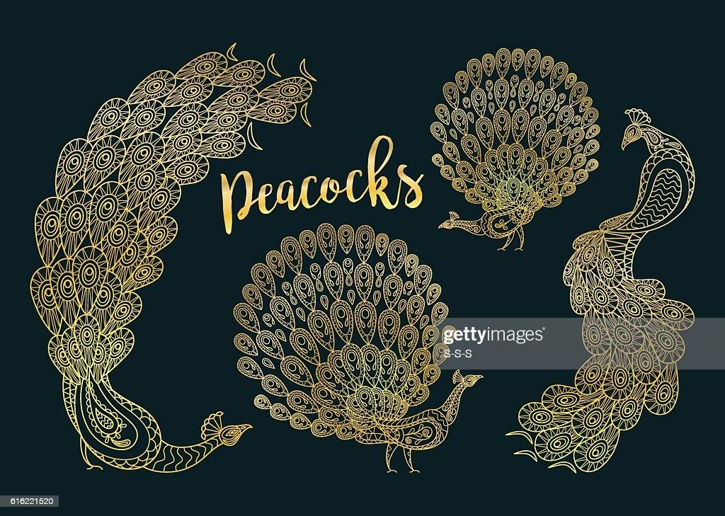 Golden peacocks set on dark turqiouse : Vector Art