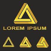 Golden Penrose triangle technology symbol set