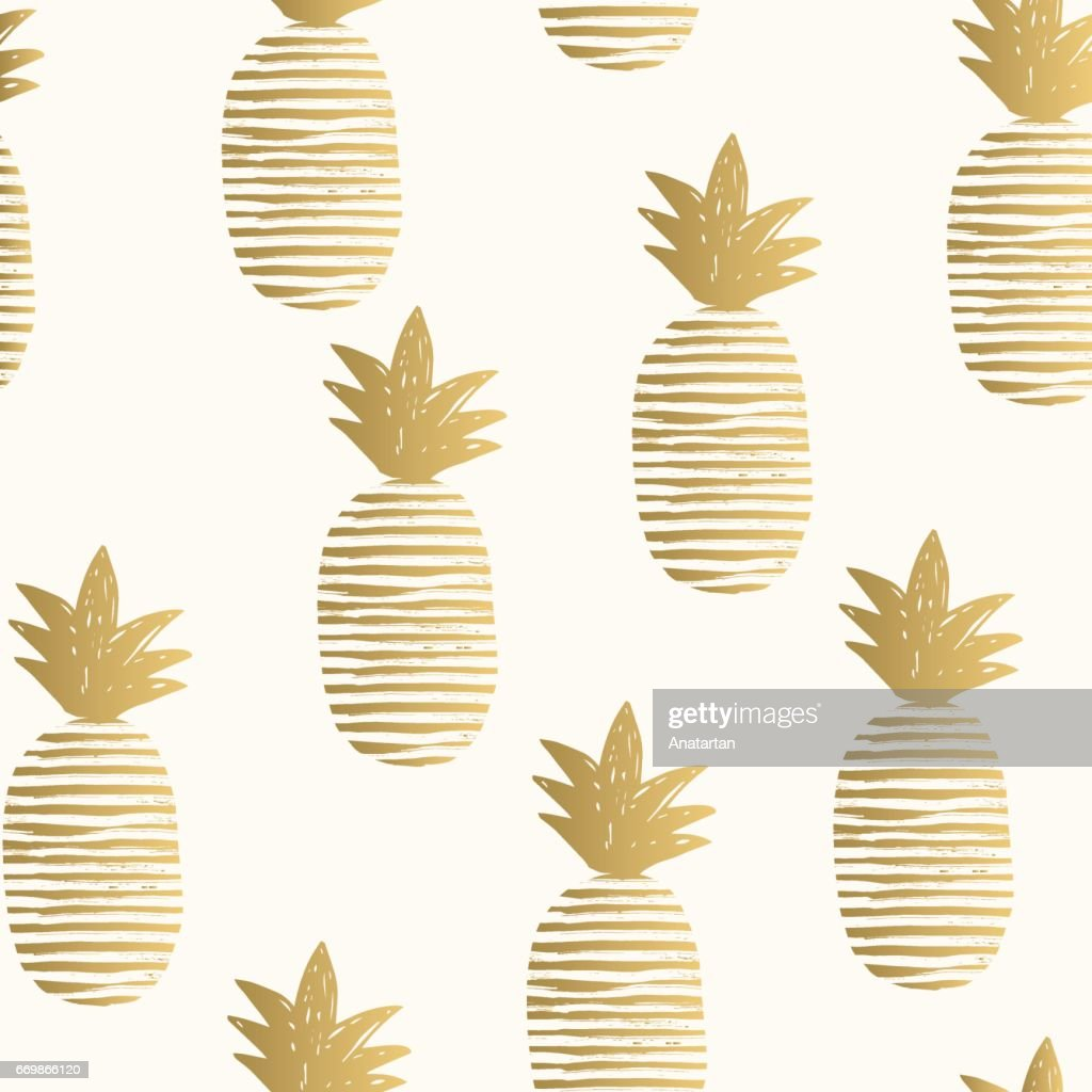 Golden pineapples background