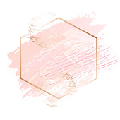 Golden pink art frames. Beauty identity elegant style. Hand drawn vector.