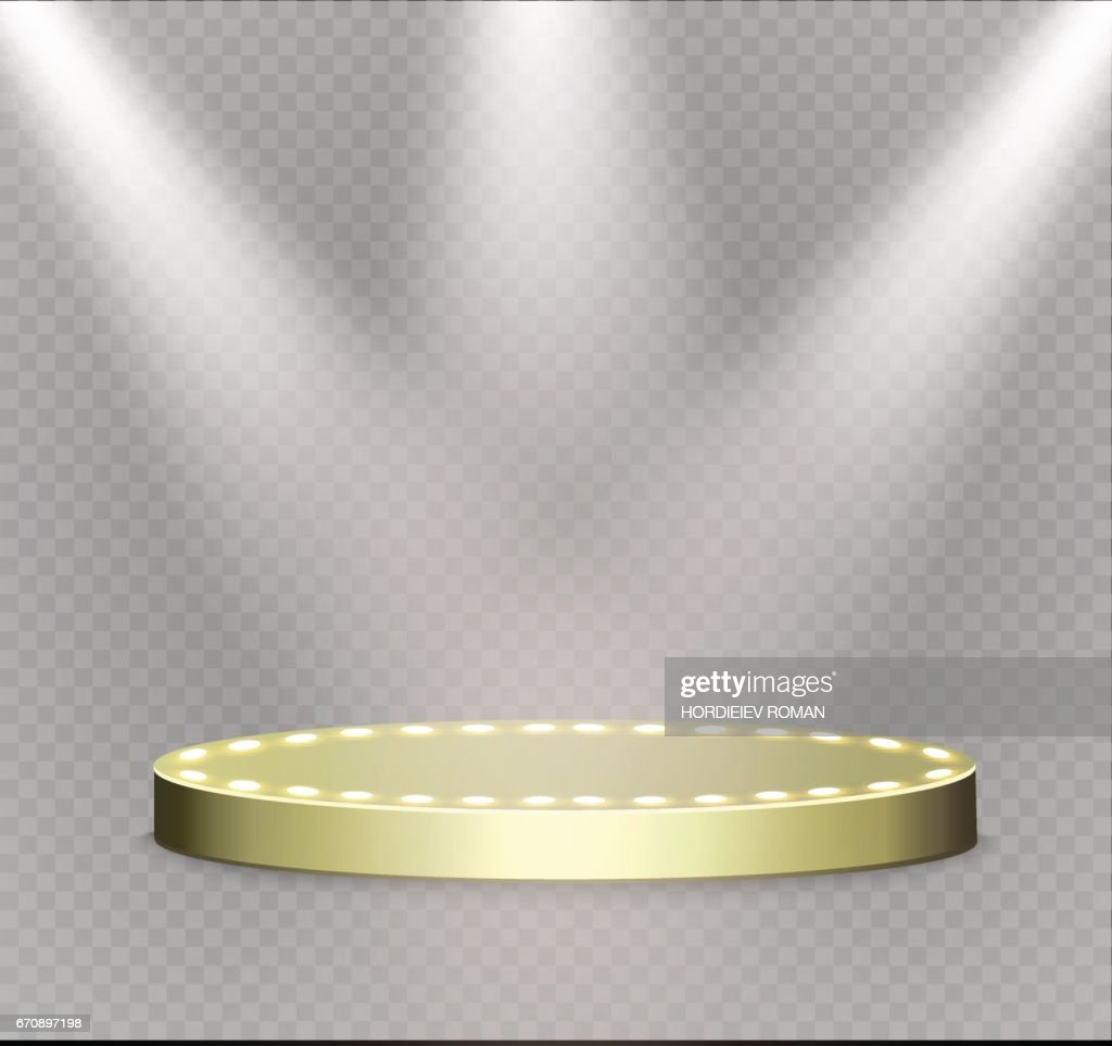 Golden podium on a transparent background.the podium of winners with bright lights.spotlight