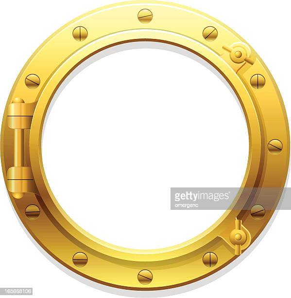 A golden porthole set against a white background