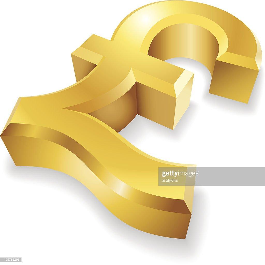Golden Symbole De La Livre Sterling Illustration Getty Images