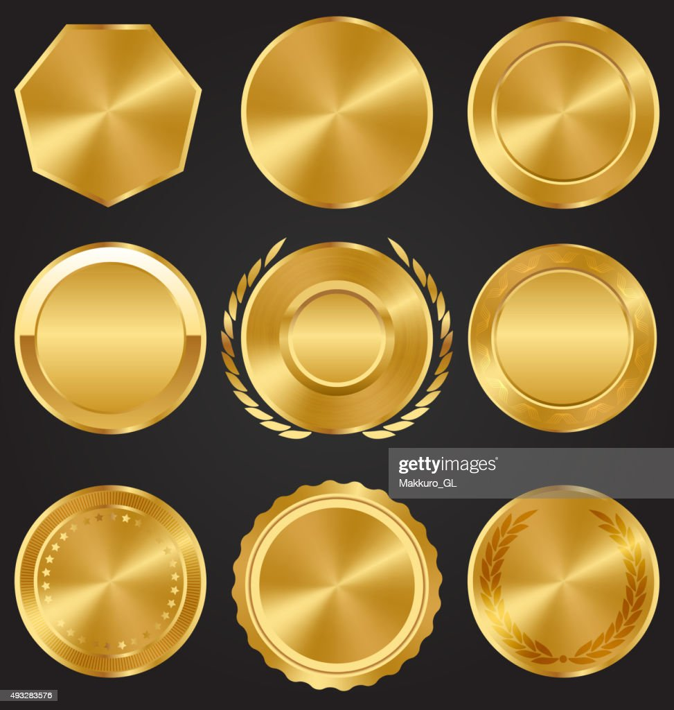 Golden Premium Quality Best Labels Medals Collection on Dark