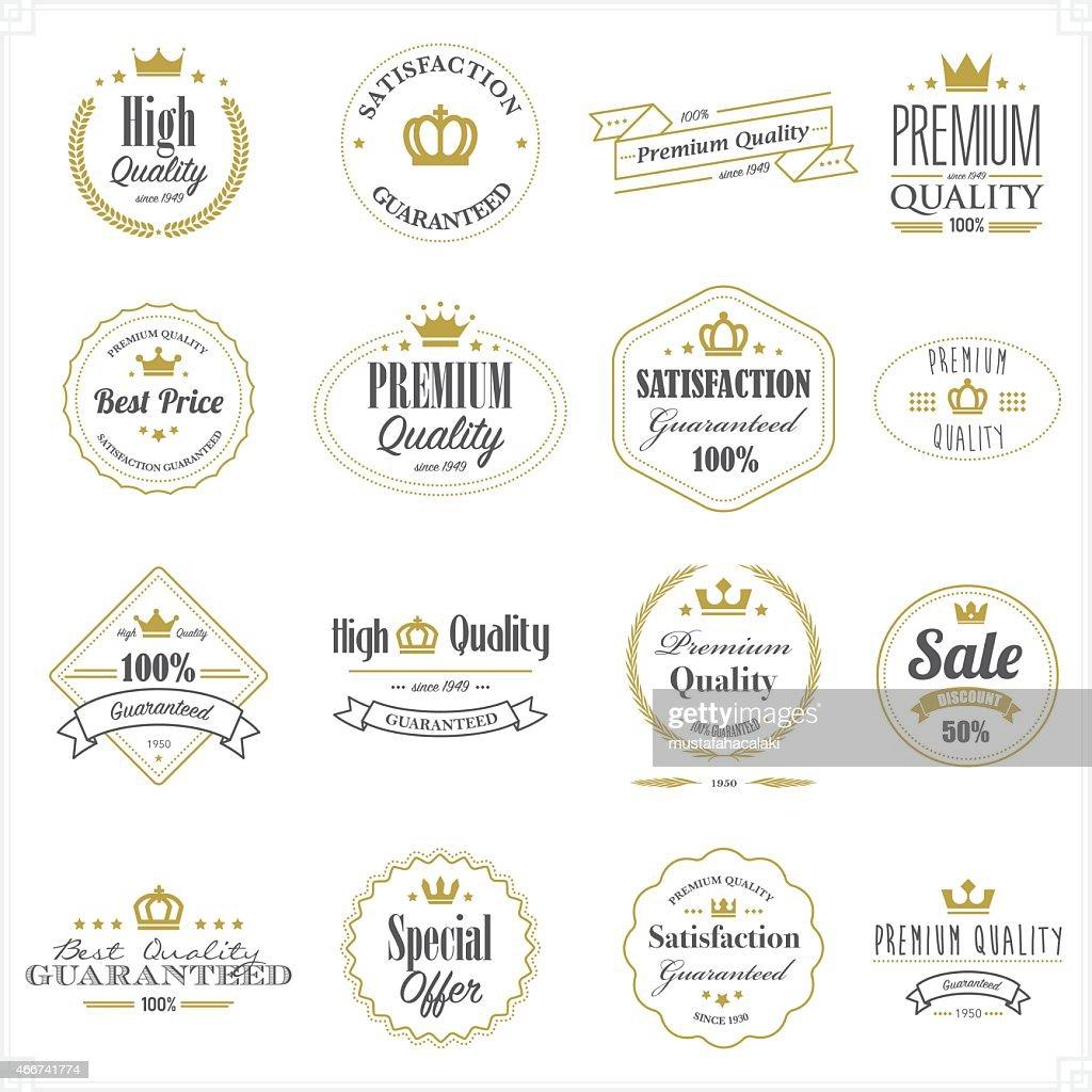 Golden premium quality stamps : stock illustration