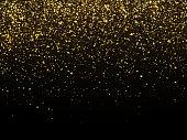 Golden rain isolated on black background. Vector gold grain texture celebratory wallpaper