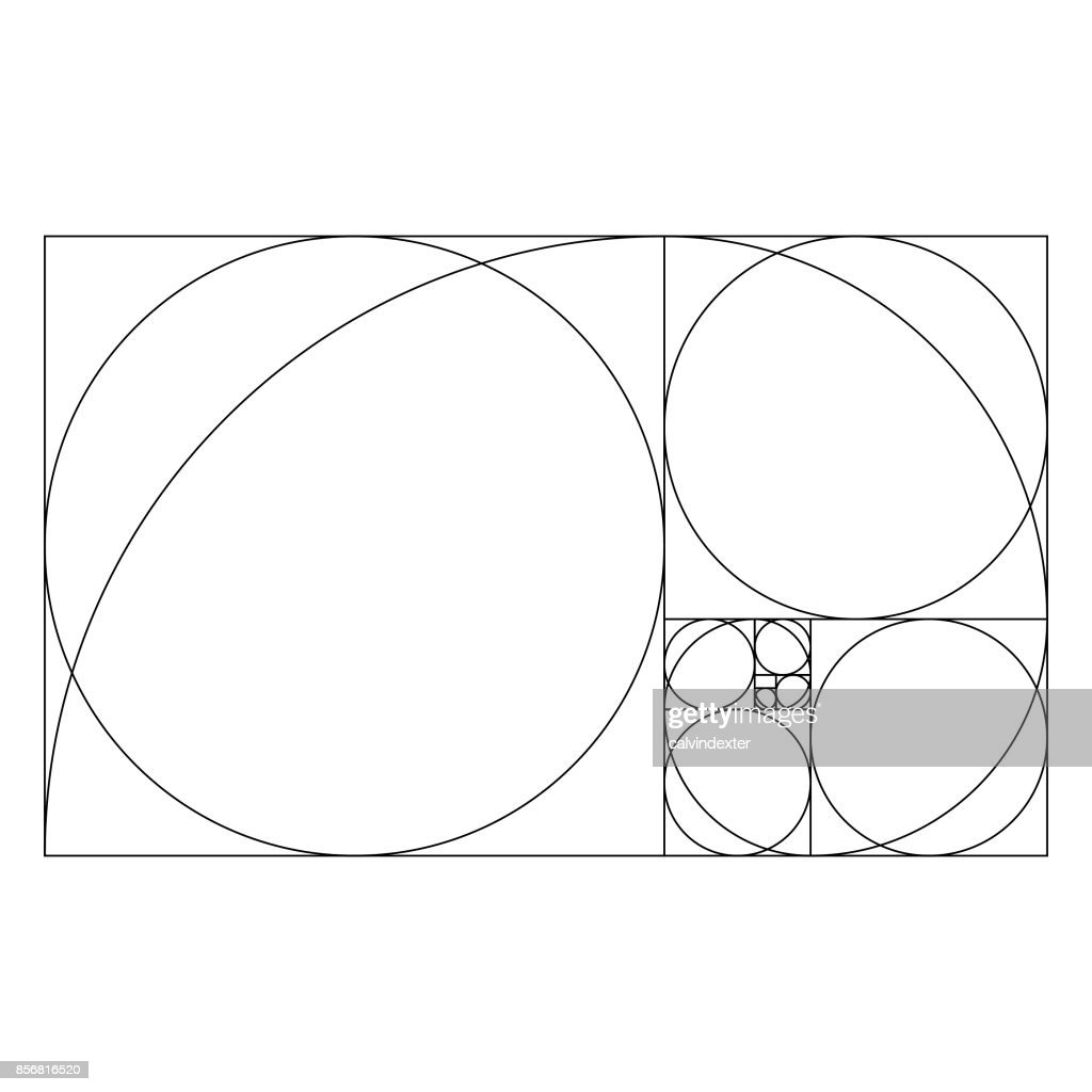 golden ratio template with proportional circles vector art getty