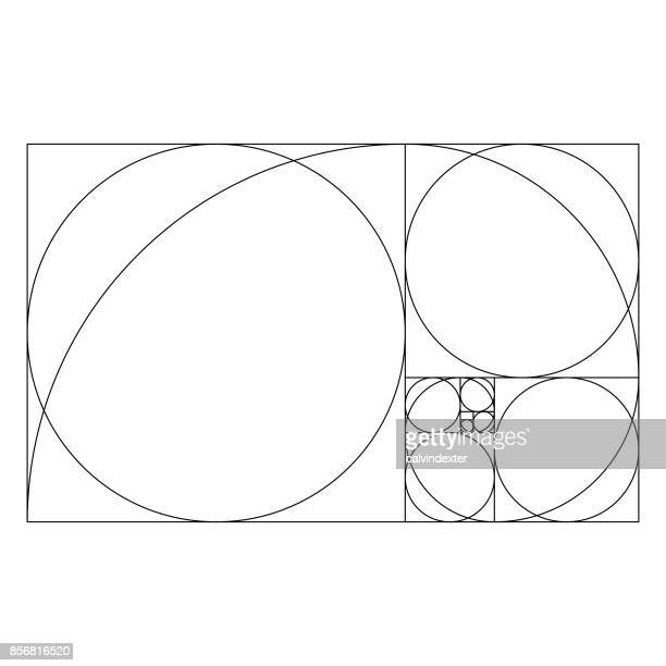 golden ratio template with proportional circles - balance stock illustrations